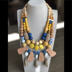 NWT Chico's Yellow Blue Beaded Tassel Necklace
